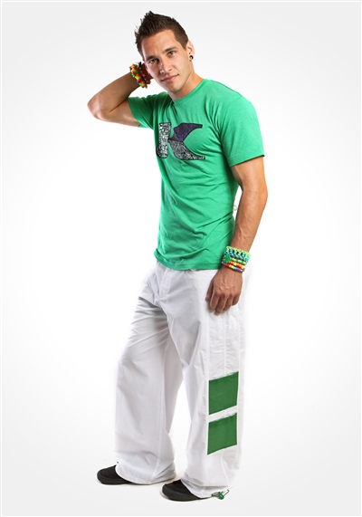 "White 23"" Double Mesh Cargo Dance Pants"