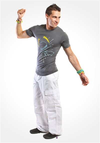 "White 20"" Glowstick Ninja Cargo Pants"