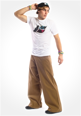 "Kikwear 26"" twill pants in khaki with contrast stitching."