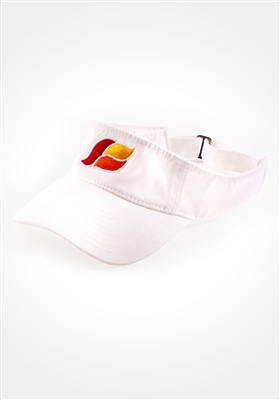 An image of a white Kikwear visor with a red, orange and yellow KWave logo.