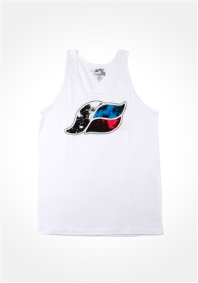 White Glowing Space Wave Unisex Tank Top