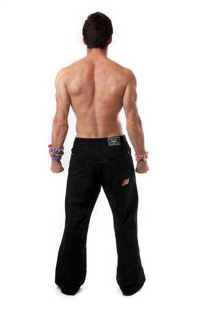 "Kikwear 23"" twill pants in black with dtm stitching."