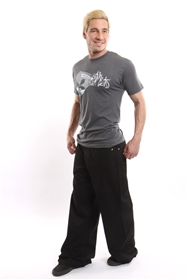 "Kikwear 26"" twill pants in black  with DTM stitching."